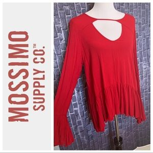 Red Bell-Sleeve Ruffle Top